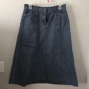Christopher & Banks Denim Midi Skirt